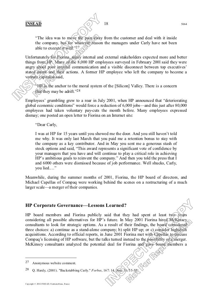 Thesis hp compaq merger