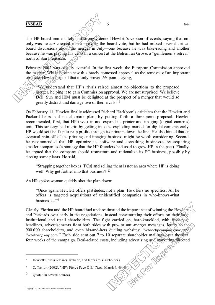thesis hp compaq merger The merger of hewlett-packard and compaq (a): strategy and valuation recommending shareholder approval for the merger of hp and compaq.