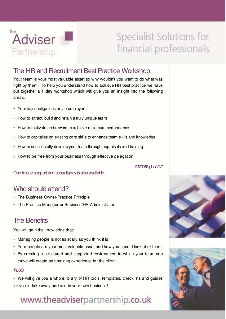 The HR and Recruitment Best Practice WorkshopYour team is your most valuable asset so why wouldn't you want to do what was...