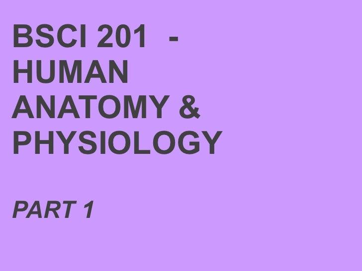 BSCI 201  -  HUMAN ANATOMY & PHYSIOLOGY PART 1