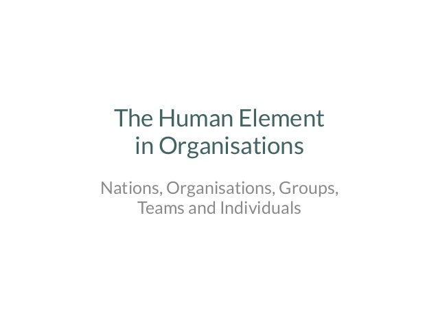 The Human Element in Organisations  Nations, Organisations, Groups, Teams and Individuals