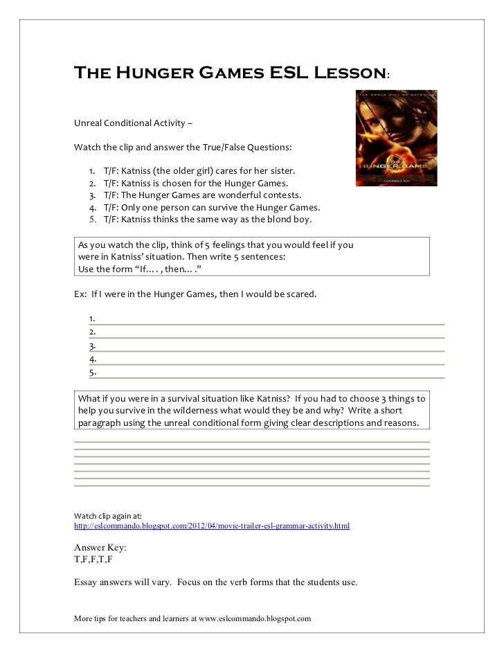 Printables Hunger Games Worksheets the hunger games esl lesson lessonunreal conditional activity clip and answer the
