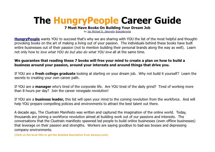The HungryPeople Career Guide                                      7 Must Have Books On Building Your Dream Job           ...