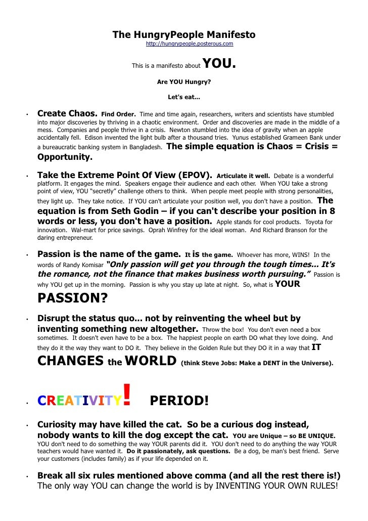 The HungryPeople Manifesto                                            http://hungrypeople.posterous.com                   ...