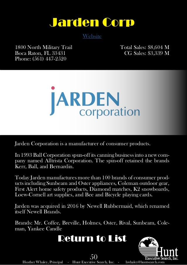 Jarden Consumer Solutions has products for just about every room of the home, as well as for use away from home. We invite you to visit all of our brand sites to experience the true depth and breadth of our product offerings.