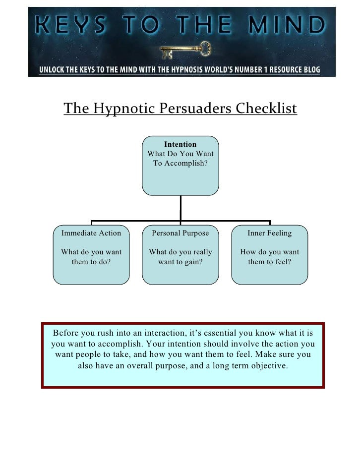The Hypnotic Persuaders Checklist                             Intention                         What Do You Want          ...