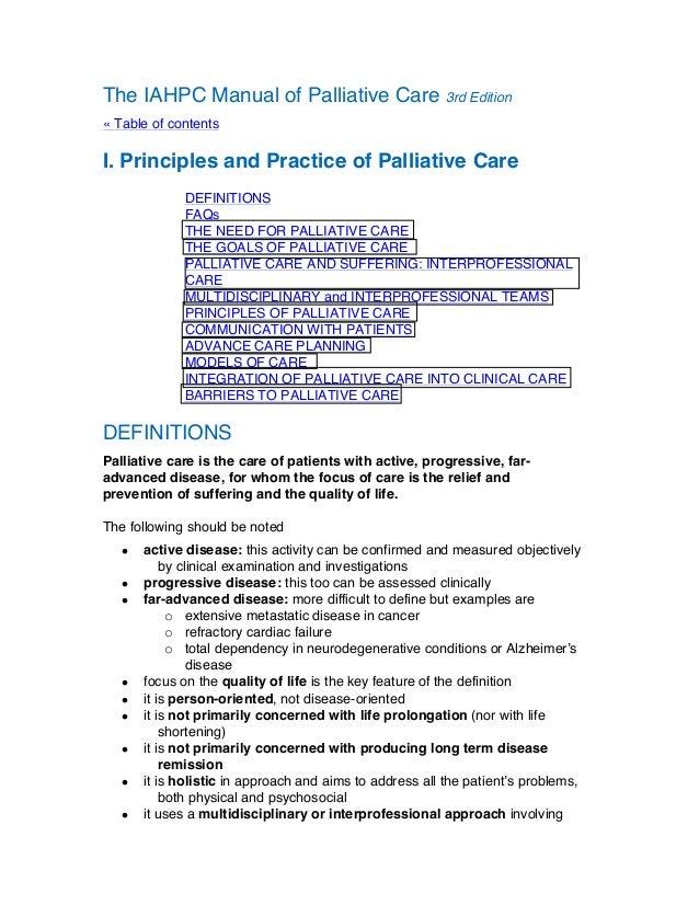 The iahpc manual of palliative care for Palliative care care plan template