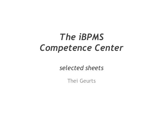 The iBPMS Competence Center selected sheets Thei Geurts