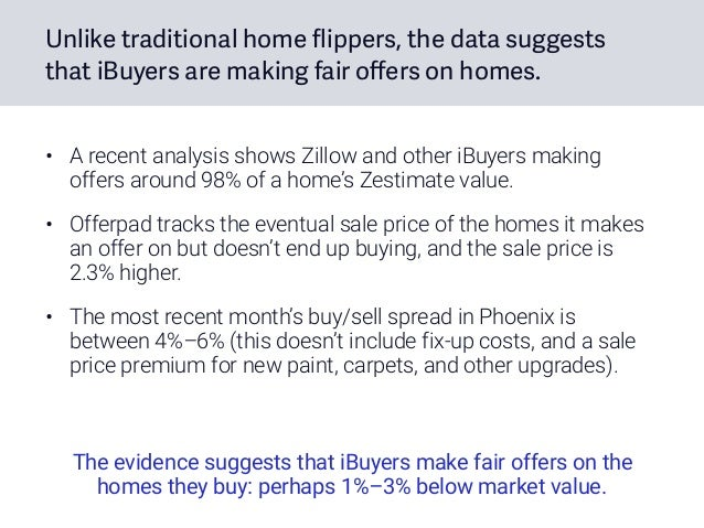 Unlike traditional home flippers, the data suggests that iBuyers are making fair offers on homes. • A recent analysis show...