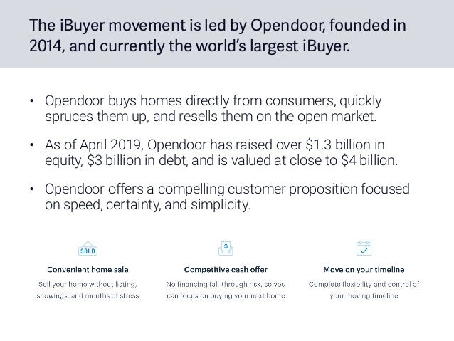 The iBuyer movement is led by Opendoor, founded in 2014, and currently the world's largest iBuyer. • Opendoor buys homes d...