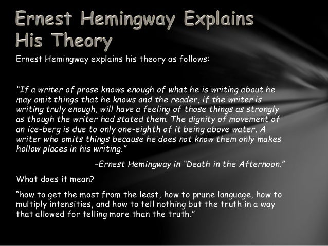 the iceberg theory th  3 ernest hemingway explains his theory