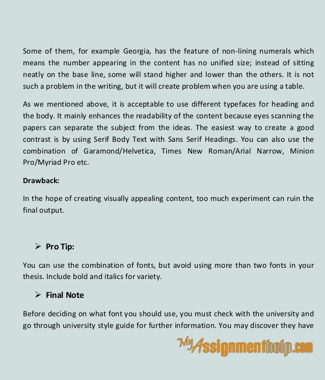 Best font for thesis writing