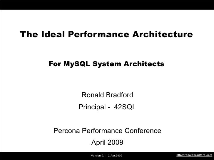 The Ideal Performance Architecture        The Ideal Performance Architecture                For MySQL System Architects   ...