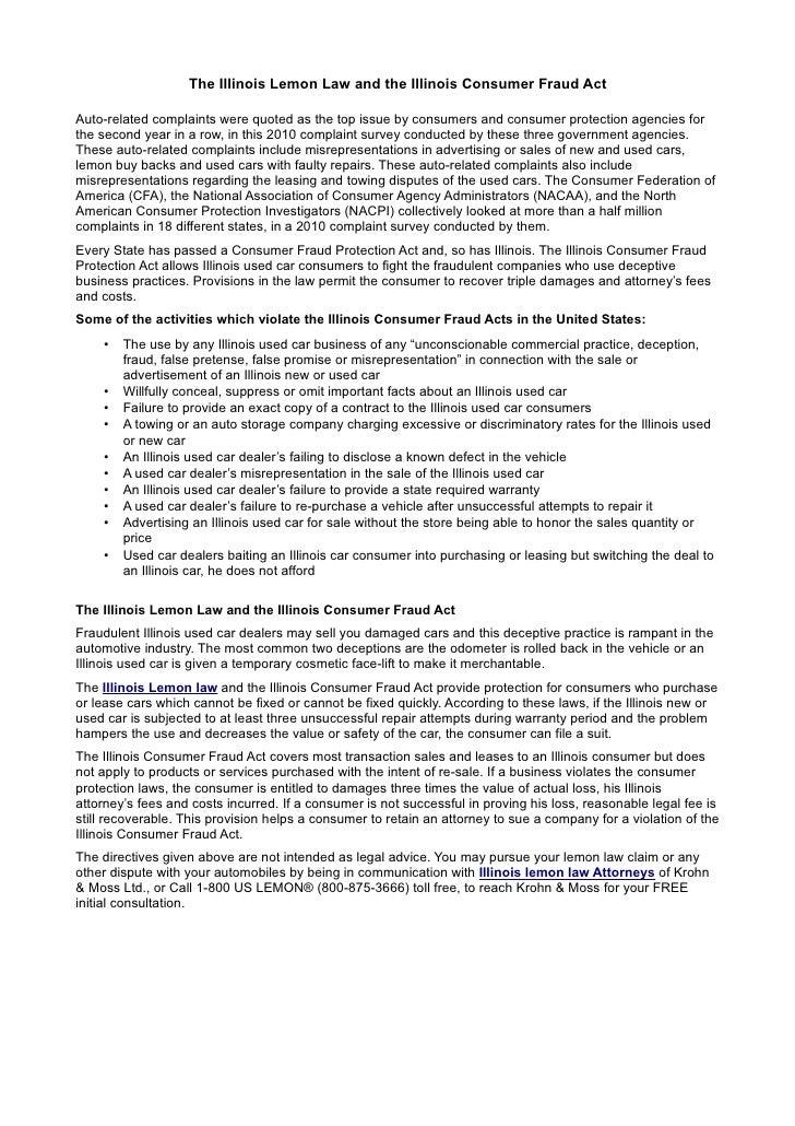 Florida Lemon Law Used Cars >> The illinois lemon law and the illinois consumer fraud act