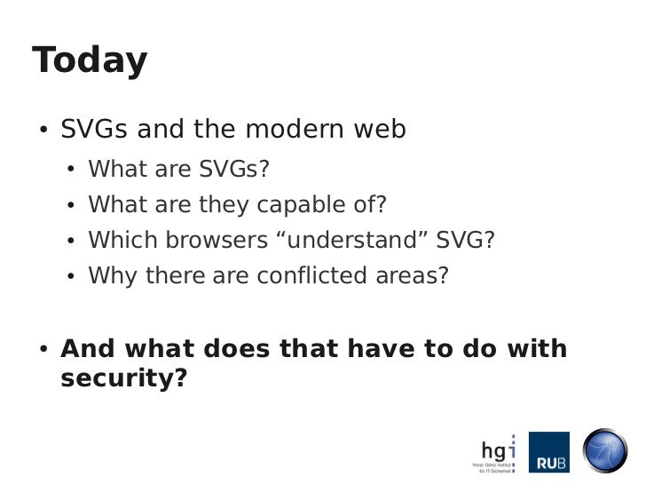 The Image that called me - Active Content Injection with SVG Files Slide 3