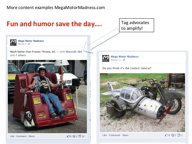 More  content  examples  MegaMotorMadness.com      Fun  and  humor  save  the  day….   Tag  advoca...