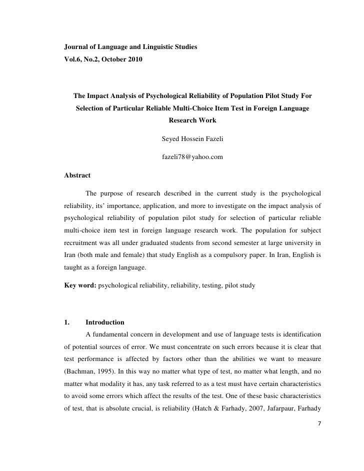 Journal of Language and Linguistic StudiesVol.6, No.2, October 2010     The Impact Analysis of Psychological Reliability o...