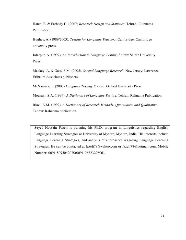 hossein farhady s language testing a linguametric 36 computer-assisted language testing, ruslan suvorov and volker hegelheimer 594 part 6: assessment and learning 615  112 assessing farsi, hossein farhady and.