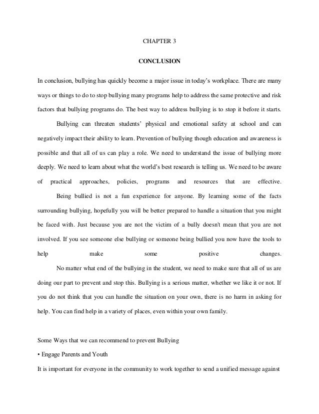 example conclusion for an essay example of a conclusion for an  3 page essay on bullying