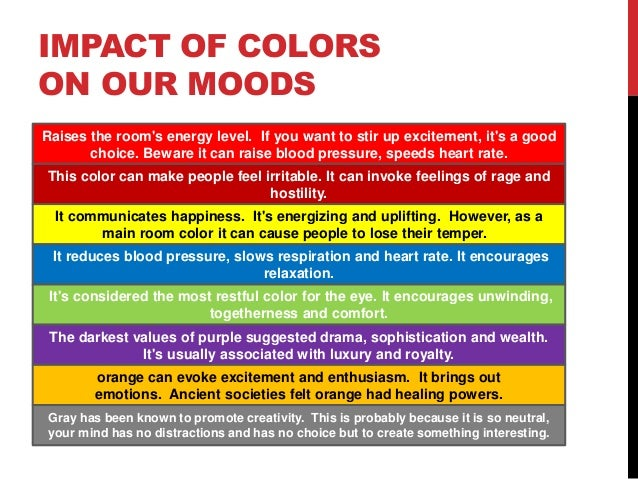 Colours And Their Moods the impact of colors