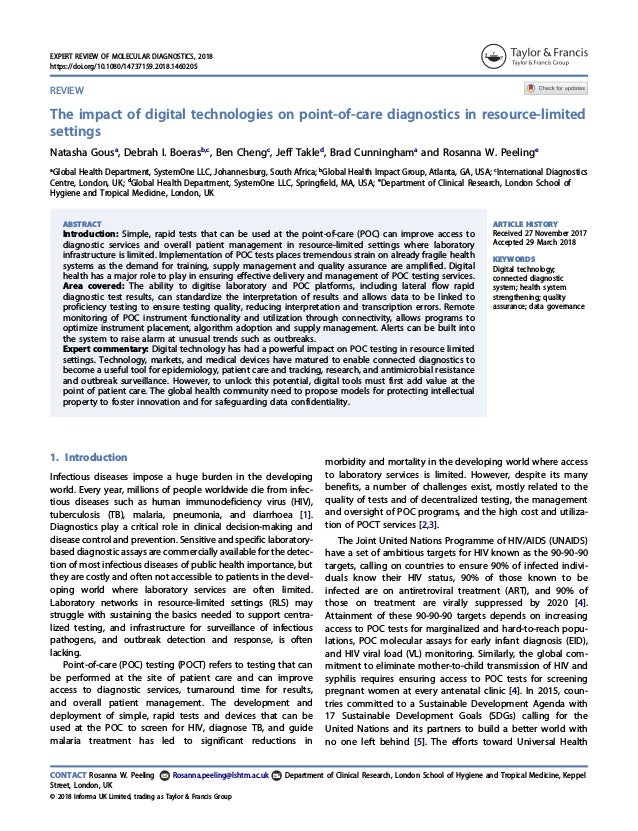 REVIEW The impact of digital technologies on point-of-care diagnostics in resource-limited settings Natasha Gousa , Debrah...