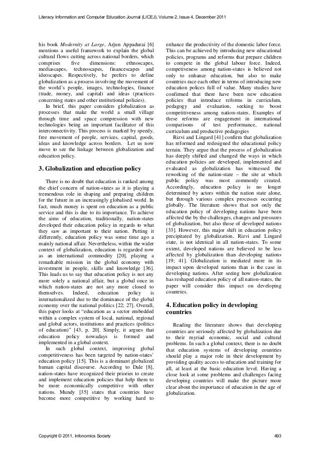 the impact of globalization on education Green, a (1997) education, globalization and the nation state,  part one examines the impact of globalization on adult education and training part two, adult education and training strategies part three, participation: problems and possibilities and part four, lifelong learning reconsidered.