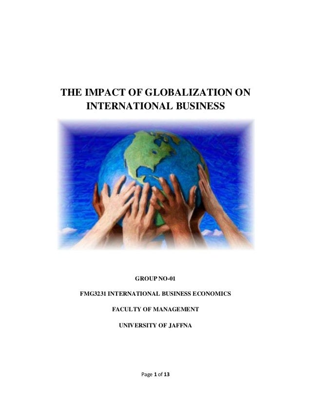 Impact of globalisation and internationalism on