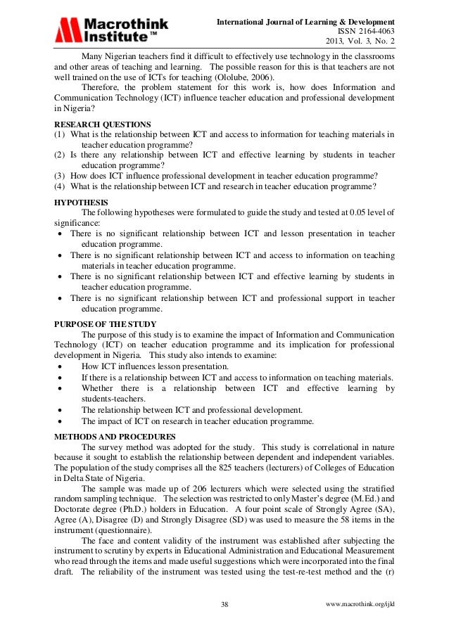 """barriers to ict in nigeria school research Damkor matthew et al """"the role of information communication technology in nigeria educational system"""" 65 international journal of research in humanities and social studies v2 i2 february 2015 such as bookkeeping, clerical and administrative work, stocktaking, and so forth, now constitute a set."""