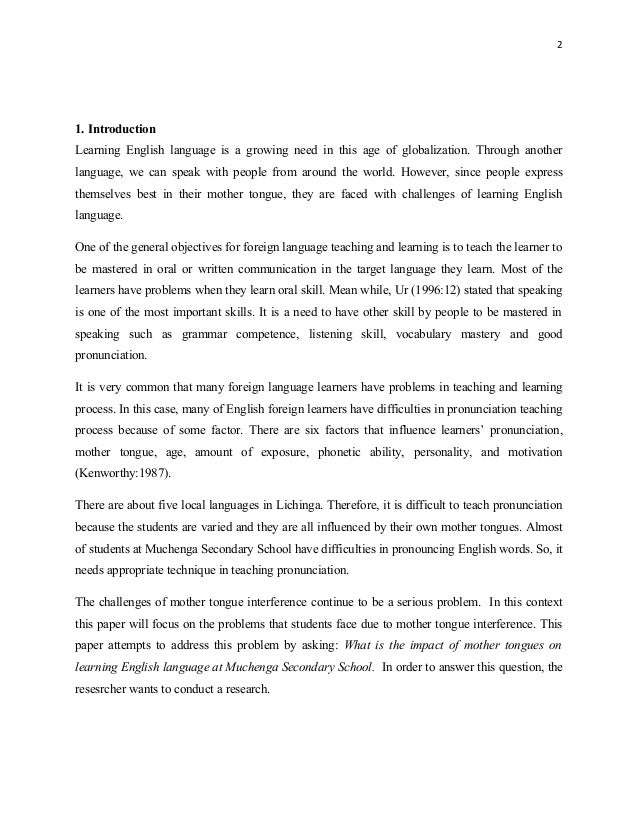 The impact of mother tongues in the learning of english language (3)