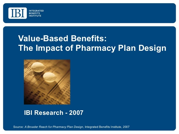 Value-Based Benefits: The Impact of Pharmacy Plan Design Source:  A Broader Reach for Pharmacy Plan Design , Integrated Be...