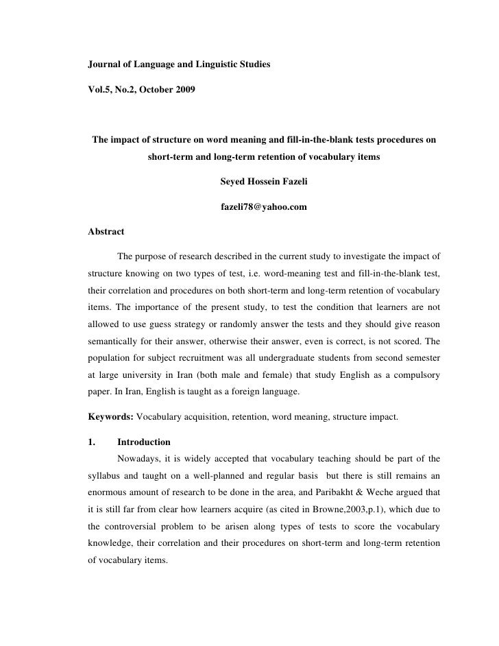 Journal of Language and Linguistic Studies  Vol.5, No.2, October 2009      The impact of structure on word meaning and fil...