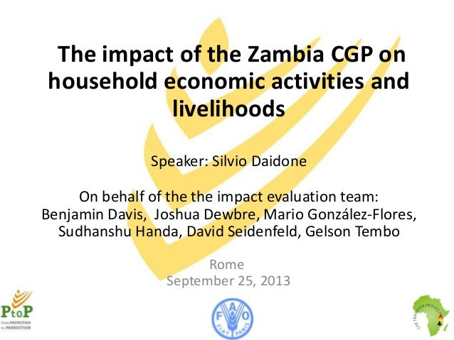The impact of the Zambia CGP on household economic activities and livelihoods Speaker: Silvio Daidone On behalf of the the...
