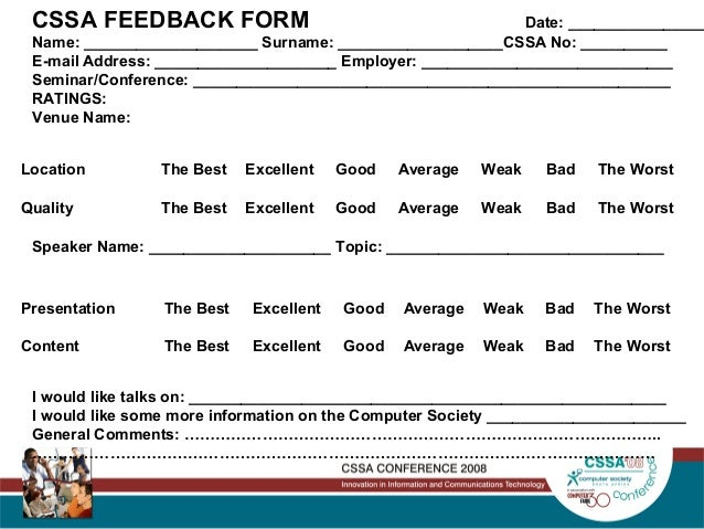The Impact Of Work Force Agility On Business – Speaker Feedback Form