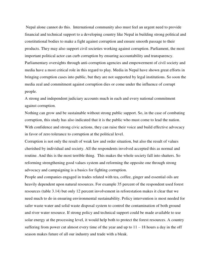 Role of media against corruption essay
