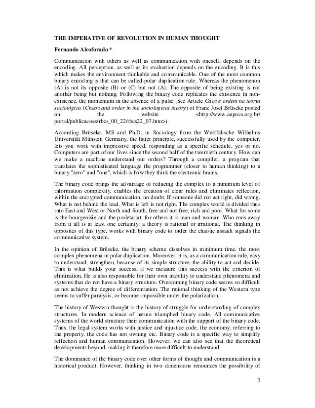 1 THE IMPERATIVE OF REVOLUTION IN HUMAN THOUGHT Fernando Alcoforado * Communication with others as well as communication w...