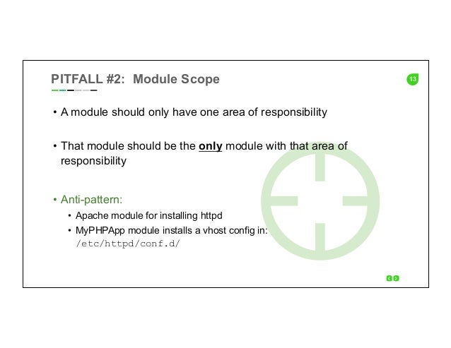 13PITFALL #2: Module Scope • A module should only have one area of responsibility • That module should be the only modul...