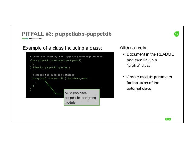 15 Example of a class including a class: #  Class  for  creating  the  PuppetDB  postgresql  database   cl...