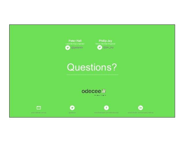 Questions? @odecee www.facebook.com/odeceesocialwww.odecee.com.au www.linkedin.com/company/odecee Philip JayPeter Hall Lea...