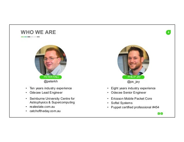 4WHO WE ARE PHILIP JAYPETER HALL • Ten years industry experience • Odecee Lead Engineer • Swinburne University Centre f...