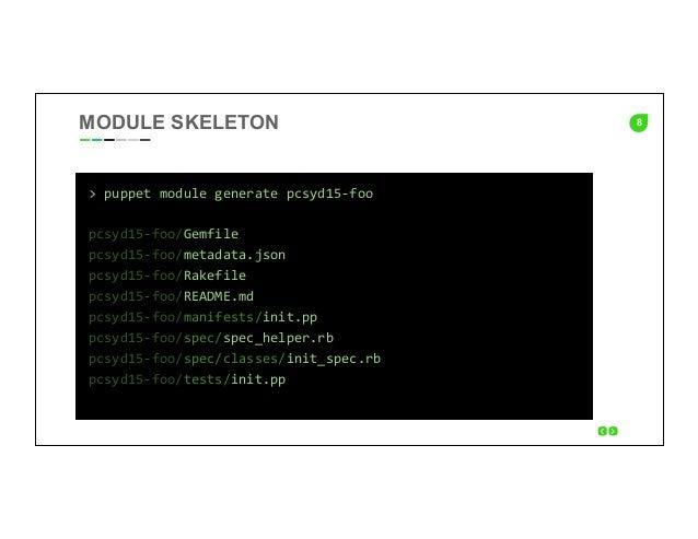 8 >  puppet  module  generate  pcsyd15-‐foo      pcsyd15-‐foo/Gemfile   pcsyd15-‐foo/metadata.json   pc...