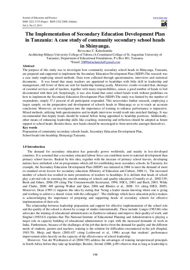 Journal of Education and Practice www.iiste.org ISSN 2222-1735 (Paper) ISSN 2222-288X (Online) Vol.4, No.12, 2013 198 The ...