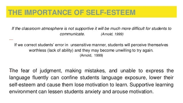 importance of self esteem Self-esteem and communication prev contents next  creating non-violent relationships you can create relationships based on mutual respect by learning and.