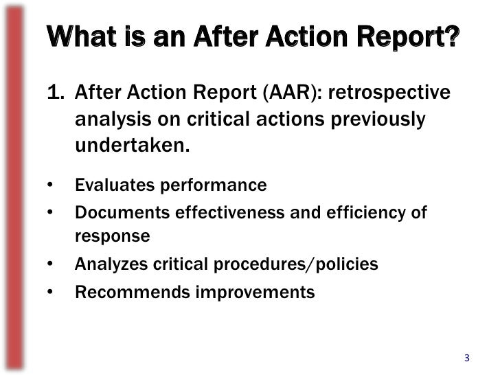 The Importance Of After Action Reports – After Action Review Template