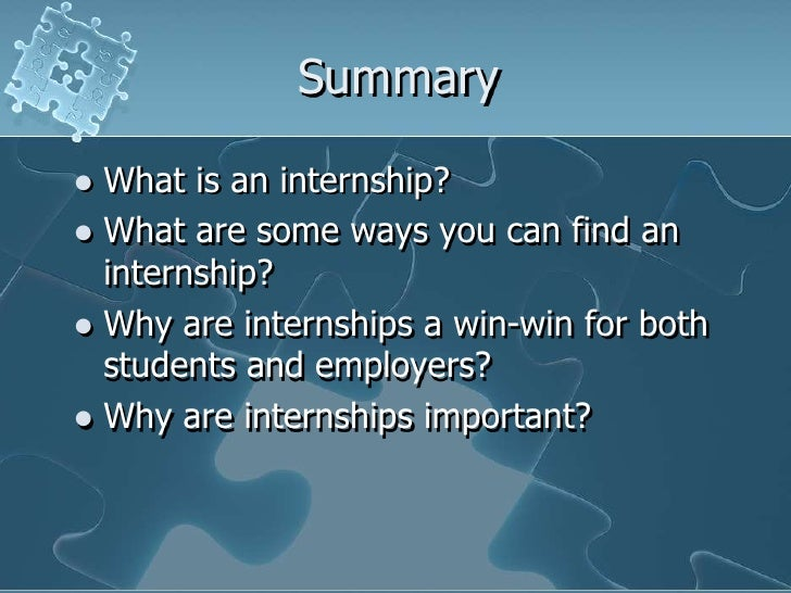 the importance of an internship in relation to job