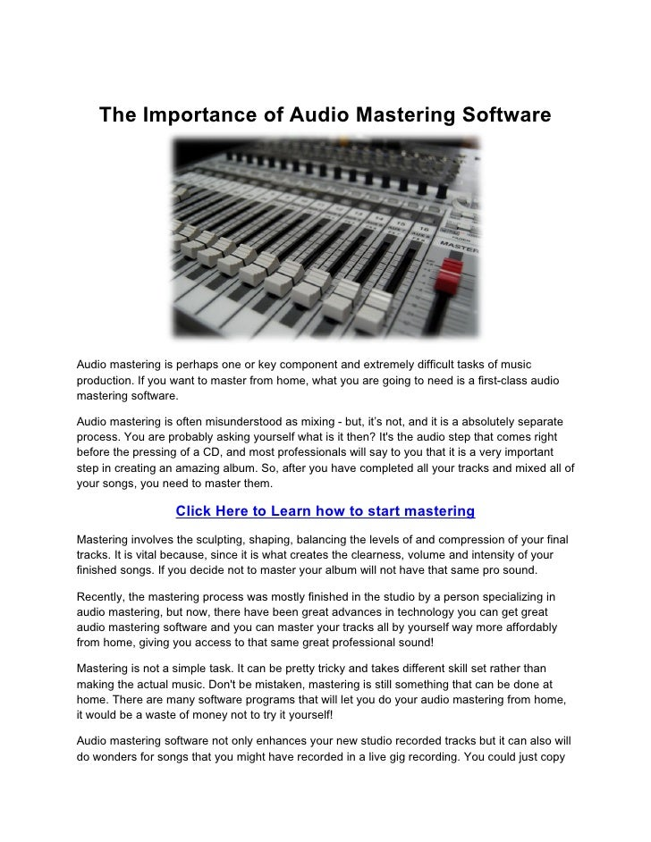 The Importance Of Audio Mastering Software