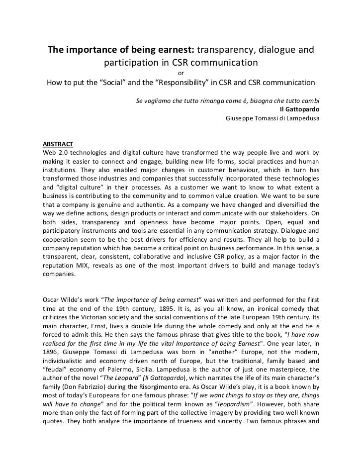 The importance of being earnest: transparency, dialogue and            participation in CSR communication                 ...