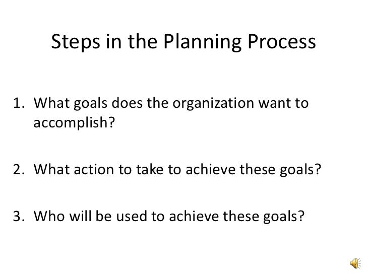 Steps in the Planning Process<br />What goals does the organization want to accomplish?<br />What action to take to achiev...