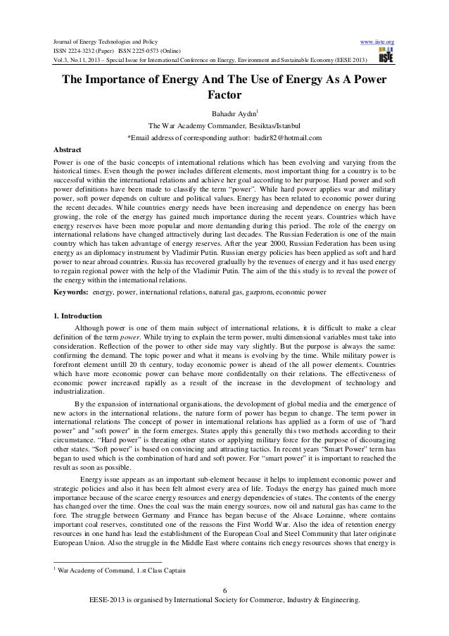 the importance of electrical energy Using a neo-classical aggregate production model where capital, labour, technology, and energy are treated as separate inputs, this paper tests for the existence and direction of causality between output growth and electrical energy use in barbados, analysed as a whole and in sectors respectively.