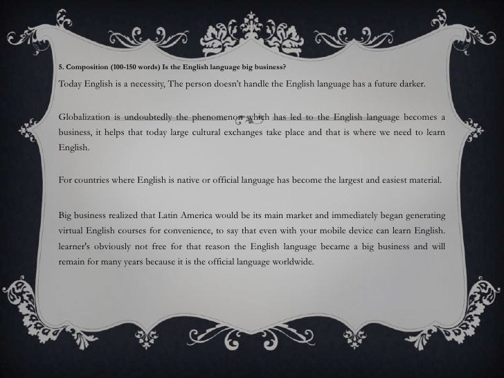 the importance of english <br > 8 5