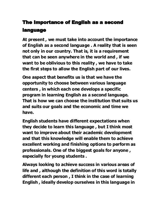The Importance Of English As A Second Language